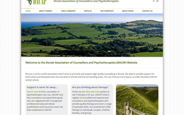 Image of the Dorset Association of Counsellors and Psychotherapists website
