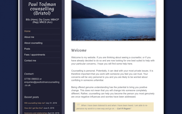 Image of Paul Todman's counselling website