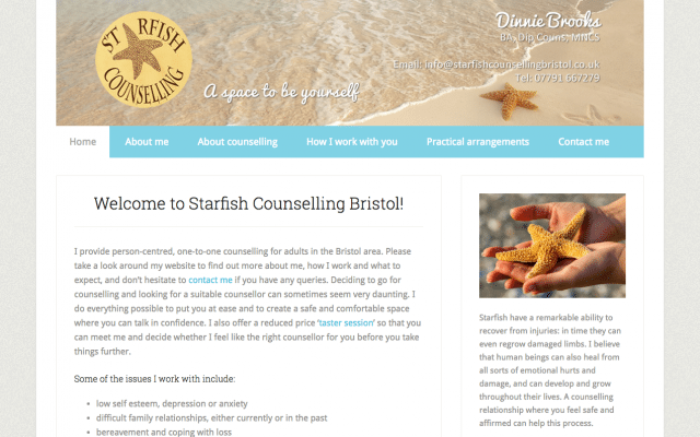Image of the Starfish Counselling website