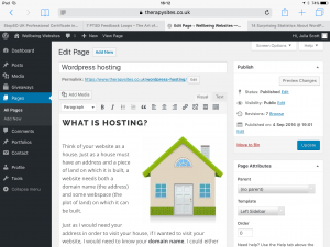 Image of the editor interface of a WordPress page